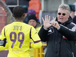 Samuel Eto'o und Trainer Guus Hiddink