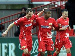Patrick Kohlmann, Chinedu Ede, Christopher Quiring (alle 1. FC Union Berlin)