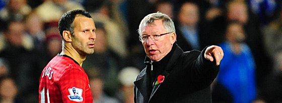 Eine Institution in Englands Oberhaus: Sir Alex Ferguson (links Ryan Giggs).
