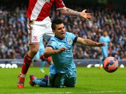 Vom FC Middlesbrough zu Fall gebracht: Sergio Aguero mit Manchester City.
