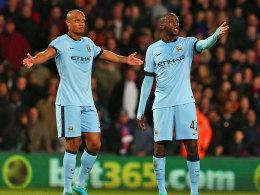 Ratlos bei Crystal Palace: Manchesters Vincent Kompany und Yaya Touré (re.).