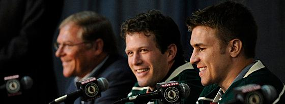 Zach Parise (re.), Ryan Suter (Mi.)