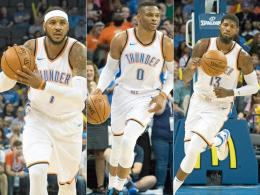 Carmelo Anthony, Russell Westbrook und Paul George (v. li.).