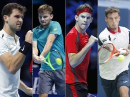 Grigor Dimitrov, David Goffin, Dominic Thiem und Pablo Carreno Busta (v. li.).