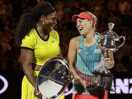 Serena Williams und Angelique Kerber (re.)