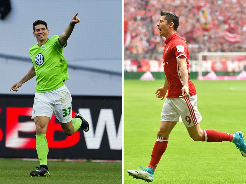 Mario Gomez und Robert Lewandowski (re.)