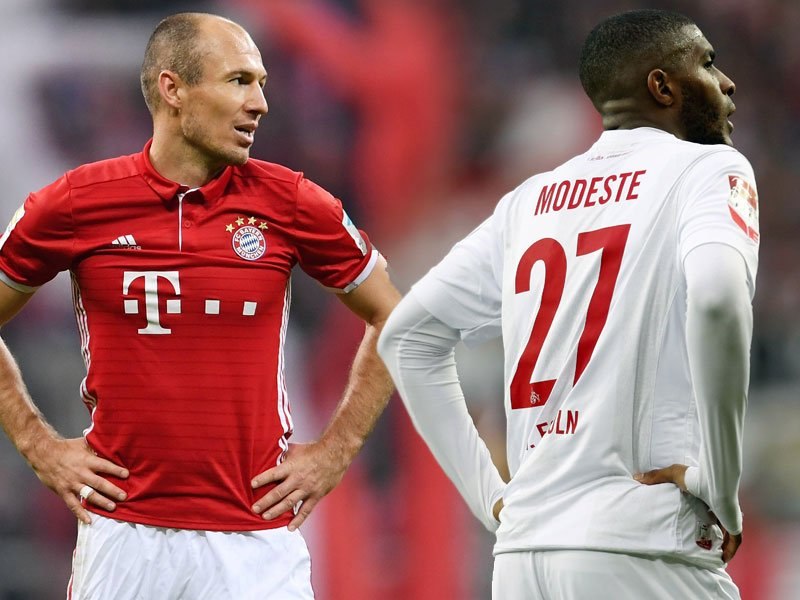 Arjen Robben und Anthony Modeste (re.)